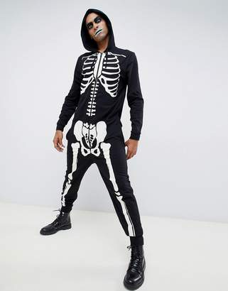 Asos DESIGN halloween onesie in glow in the dark skeleton print