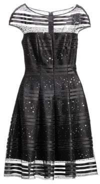 Talbot Runhof Women's Sequin Net Cocktail A-Line Dress - Black - Size 12