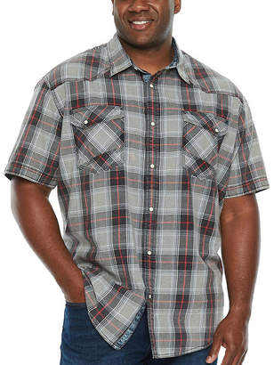 Co THE FOUNDRY SUPPLY The Foundry Big & Tall Supply Short Sleeve Plaid Button-Front Shirt-Big and Tall