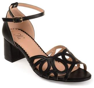 Brinley Co. Womens Faux Leather Ankle Strap Open-toe Heels
