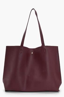 boohoo Large Popper Tote Shopper Bag