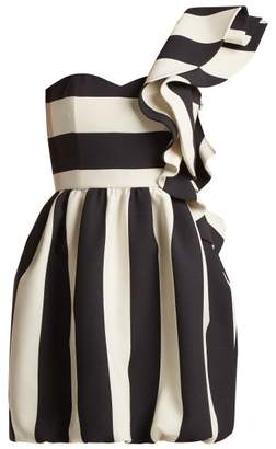 Valentino One Shoulder Wool Blend Dress - Womens - White Black