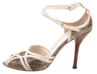 Gucci Embossed High-Heel Sandals
