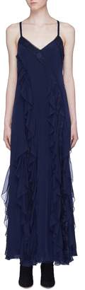 Alice + Olivia 'Jayda' cross back ruffle godet silk maxi dress