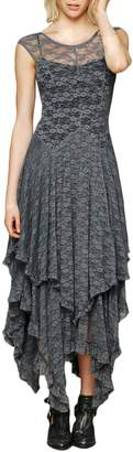 Azbro Women's Sleeveless Floral Lace Tiered Irregular Hem Party Dress, Grey M