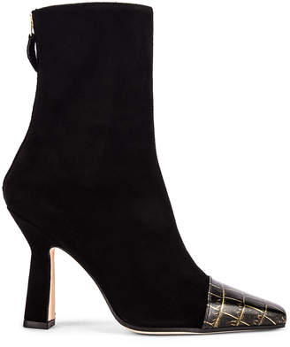 Paris Texas Suede and Croco Square Toe Ankle Boot in Black | FWRD
