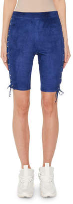 Unravel Lace-Up Faux-Suede Cycling Short