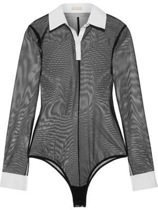 Fleur Du Mal Cotton Poplin-trimmed Stretch-tulle Bodysuit - Black