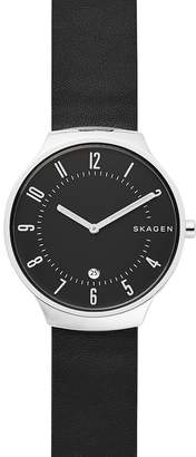 Skagen Grenen Black Leather Watch, 38mm