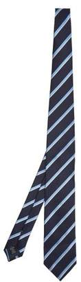 Ermenegildo Zegna Striped Silk Tie - Mens - Navy Multi