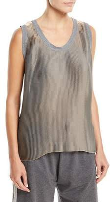 Brunello Cucinelli Scoop-Neck Metallic Pleated Tank Top with Knit Trim