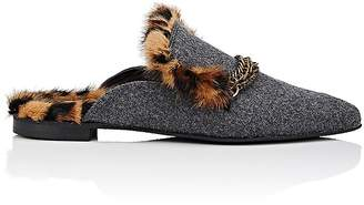 Mr & Mrs Italy Women's Fur-Lined Felt Mules
