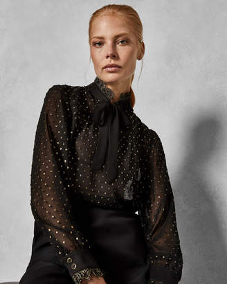 Ted Baker RIIAA Joyous lace trim pussy bow blouse
