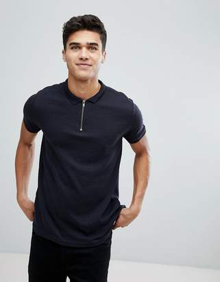 Brave Soul Ribbed Zip Neck Polo Shirt