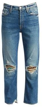 Mother Tomcat High-Rise Jewelled Ripped Ankle Jeans