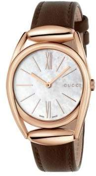 Gucci Horsebit Rose Goldtone Brown Leather Strap Watch