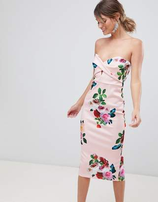 Asos DESIGN floral twist front scuba bodycon midi dress