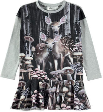 Molo Claire Long-Sleeve Deer-Print Dress, Size 2T-12