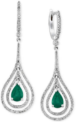 Effy Brasilica by Emerald (1-1/8 ct. t.w.) and Diamond (3/4 ct. t.w.) Earrings in 14k White Gold, Created for Macy's