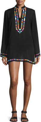 Nanette Lepore Mambo Embroidered-Trim Long-Sleeve Tunic Coverup $156 thestylecure.com
