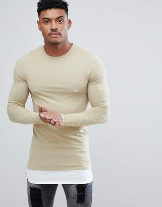 BEIGE ASOS DESIGN longline long sleeve muscle fit t-shirt with contrast hem extender in