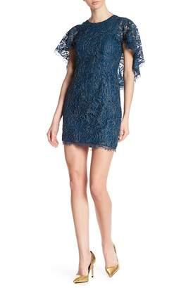 Dress the Population Shelby Cape Sleeve Lace Mini Dress
