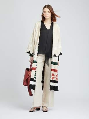 Oscar de la Renta Geometric Stripe Intarsia Lamb Coat