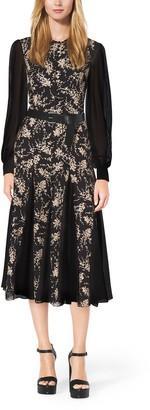 Michael Kors Floral-Embroidered Silk-Chiffon Dress