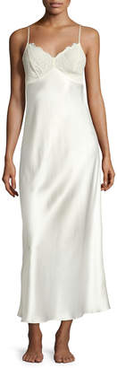 Neiman Marcus Lace-Trim Silk Nightgown