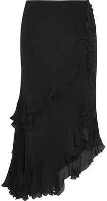 Etro Ruffled Crinkled Silk-georgette Midi Skirt - Black