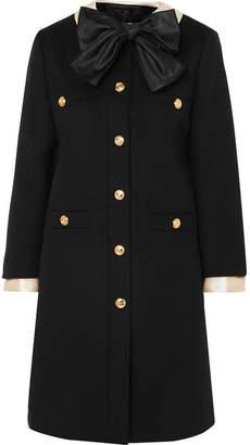 Gucci Silk Satin-trimmed Wool-felt Coat - Black
