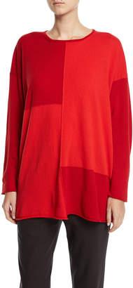 eskandar Raw-Seam Patchwork Cashmere Top