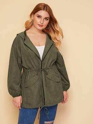 Shein Plus Drawstring Waist Zipper Up Hoodie Coat