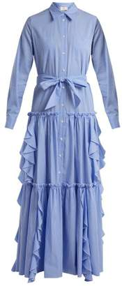 Sara Battaglia Ruffle Trimmed Striped Cotton Dress - Womens - Blue White