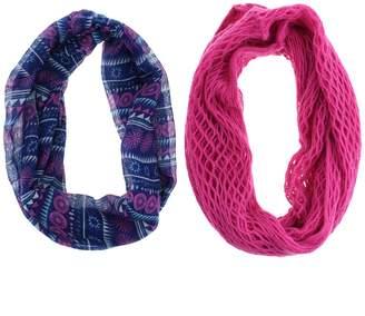Girls 7-14 2-pack Geometric Tribal Print & Solid Knit Loop Infinity Scarves