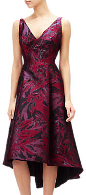 Adrianna Papell Floral Jacquard Embellished Dress, Wine Berry/Multi