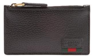 Gucci Web Trim Grained Leather Cardholder - Mens - Black Multi