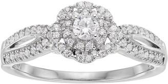 Vera Wang Simply Vera 14k White Gold 3/8 Carat T.W. Diamond Halo Engagement Ring