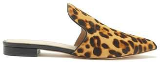 Rachel Zoe Natalie Leopard-Print Calf Hair Slides