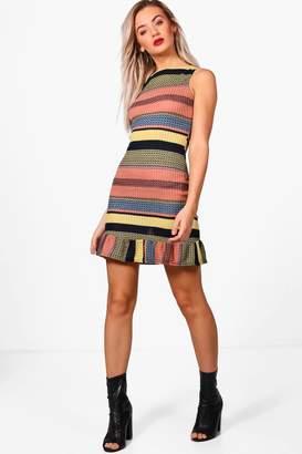 boohoo Knitted Stripe Frill Hem Bodycon Dress