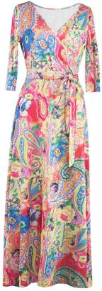 Aecibzo Women's Paris Bohemian 3/4 Sleeve Faux Wrap Maxi Dress Long with Belt (M, )