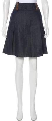 Acne Studios Leather-Accented Denim Skirt