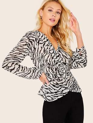Shein Front Twist Sheer Zebra Chiffon Long Sleeve Blouse