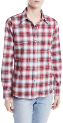 Libertine Button-Front Long-Sleeve Classic Beaded Plaid Cotton Shirt