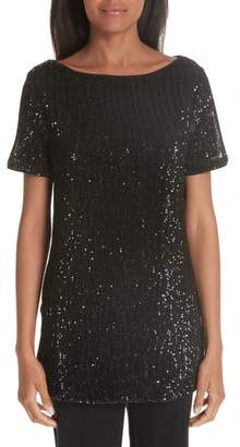 St. John Pleated Sequin Embellished Tulle Tunic