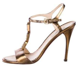 Prada Leather Rhinestone Sandals