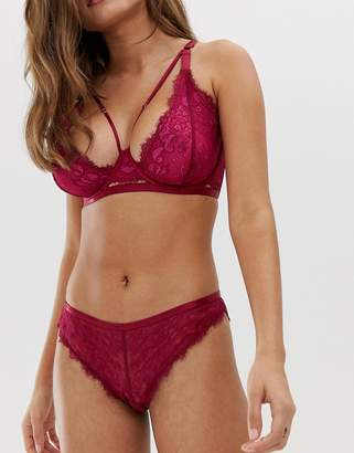 Wolfwhistle Wolf & Whistle lace detail underwear in burgundy