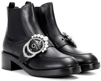 Miu Miu Faux pearl-embellished leather ankle boots