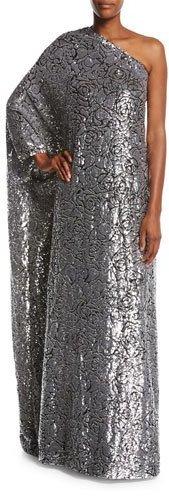 MICHAEL Michael KorsMichael Kors Collection Embellished Floral One-Shoulder Gown, Black