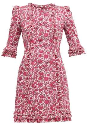 The Vampire's Wife Cate Ruffle Trimmed Floral Print Cotton Mini Dress - Womens - Pink White